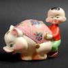 中国雑貨/置物/豚と少年/仲良し首振り人形貯金箱